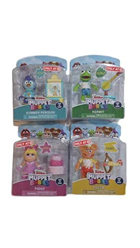 Muppet Babies Poseable Action Figure Set of 4: Kermit, Fozzie, Piggy, and Summer Penguin