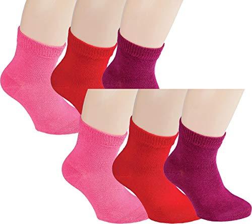 Vitasox 21097 Kinder Jungen Mädchen Socken Kindersocken Kindersöckchen Baumwolle einfarbig bunt ohne Naht 6er Pack 35/38