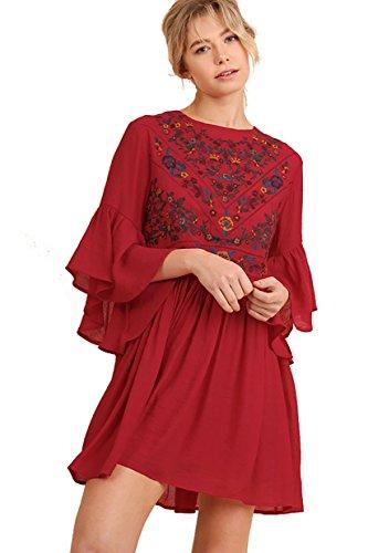 BoHo Bliss! Embroirdered Bell Sleeve Dress (small, strawberry)