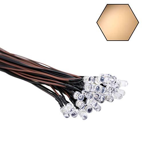 30 luces LED de 12 voltios, 5 mm, luz blanca cálida, emiten diodos precableados de 7,9 pulgadas, CC 12 V, LED, lente clara, pequeñas lámparas LED