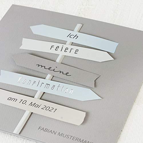 sendmoments Konfirmation Einladungskarten, Richtungsweisend, Einladung 5er Klappkarten-Set quadratisch, personalisiert mit Text & Fotos, Silber Veredelung, optional passende Umschläge