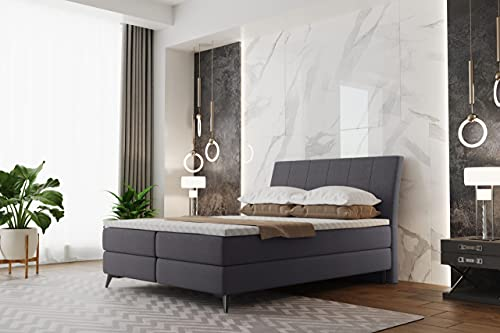 Canapé ALDA, cama de hotel, cama continental, 140/160/180 x 200 cm, color crema, gris oscuro, negro y gris claro, dos canapés, cabecero alto, Sawana 05 - gris oscuro, 160 x 200 cm
