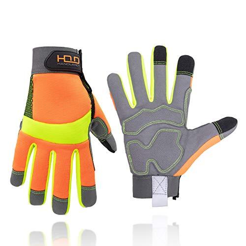 Mens Work Gloves,Anti Vibration Gloves,Guantes De Trabajo,Multi-Purpose Light Duty Work Safety Gloves,Breathable & High Dexterity Mechanic Working Gloves Touchscreen (L, Orange)
