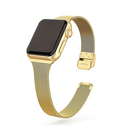 LAAGFC Correa de reloj de acero inoxidable de metal para Apple Watch de 44 mm, 40 mm, 38 mm, 42 mm, serie 6, 5, 4, 3, 2, 1 SE (Color de la correa: oro, tamaño: 38 mm y 40 mm)