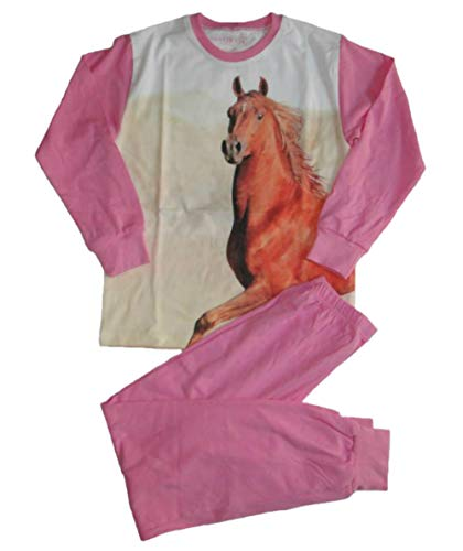 Pampress Mädchen Langarm Schlafanzug mit Pferde Motiv (140/146)