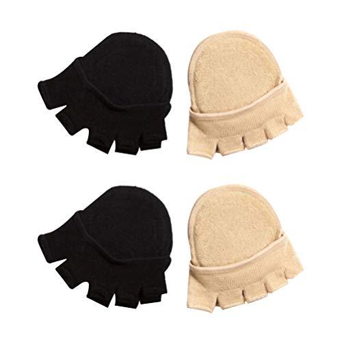 TENDYCOCO 2 Paare/Paket Frauen vorfuß socken halb fünf zehen socken unsichtbare Sommer baumwollsocken (schwarz + beige)