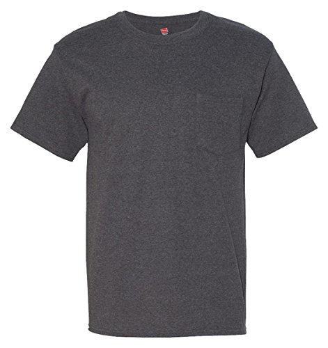 Hanes Men's Short Sleeve Beefy-T with Pocket, Charcoal Heather, XX-Large