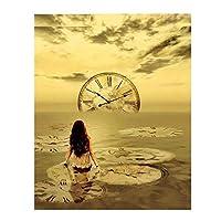 KBIASD 新しいダイヤモンド絵画の女の子が時計を追いかけるノスタルジックでエレガントなスタイルのフルスクエアドリルの家の装飾-40x50cmフレームなし