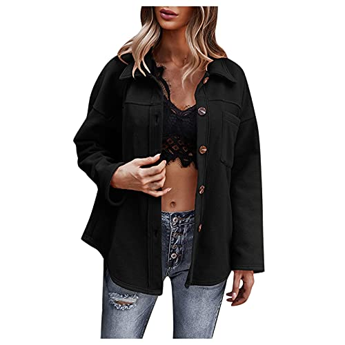 GIJK Winter Coats for Women 2021 New Long Sleeve Flannel Shacket Jacket for Women Button Down Woolen Solid Shirts Blouses Tee Black