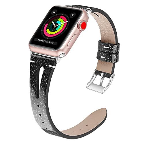 Correa De Repuesto para Reloj Correa De Piel Iwatch De 38 Mm / 42 Mm Correa De Repuesto con Hebilla Clásica De Metal Inoxidable para Apple Watch Series 3 2 1,38mm/40mm