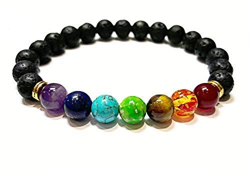 SODIAL Pulsera de curacion de 7 chakras Pulsera de amuleto para hombres...