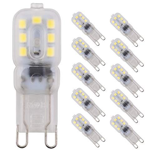Pocketman 10 Pezzi 2W Dimmerabile G9 Lampadine LED Sostituire 20W Lampada Alogena,Bianco Freddo 6000k,200 Lumen,AC 220-240V,360 Gradi Angolo a Fascio [Classe di efficienza energetica A+]