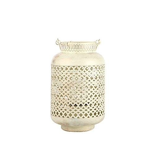 KMYX Vela Portátil Europea Linterna Retro Iron Glass Candelabro de Regalo de Cumpleaños Decoración de La Boda Jardín Hogar Velas Titulares Iluminación Cocina (Color : White)