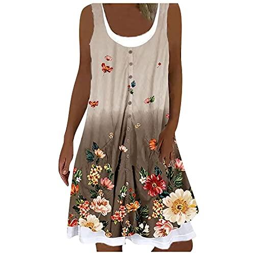 Liably Vestido de verano para mujer de imitación con cuello redondo, estampado, sin mangas, holgado, para la playa, elegante, largo hasta la rodilla, para fiestas, blusas, Caqui-1., XL