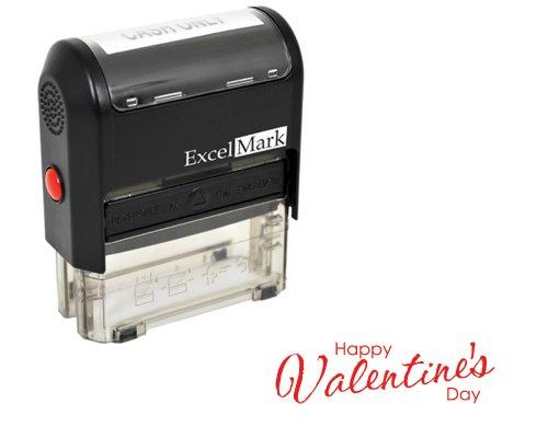 Valentines Day Rubber Stamp - Happy Valentines Day Stamp - Red Ink