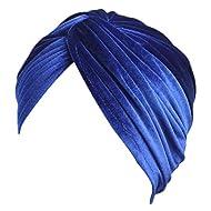 Fxhixiy Women's Stretch Velvet Twist Pleasted Hair Wrap Turban Hat Cancer Chemo Beanie Cap Headwear