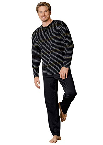 Hajo Klima Komfort Herren-Schlafanzug Single-Jersey schwarz Größe 52/54