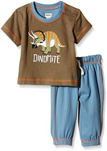 Hatley Infant Tee & Track Pant Set-Wild Dinos Ensemble, Multicolore - Multicoloured (Brown), 24 Mois Bébé garçon