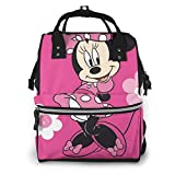 Zaino per borse per pannolini - Minnie Mouse con zaino da viaggio impermeabile multifunzionale per fiori Borse per fasciatoio per neonati