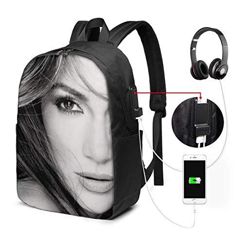 Lawenp Jennifer-Lopez Backpack Unisex Popular Travel LaptopBackpacks with USB Charging Port Training College School Computer Bookbag for Women Men
