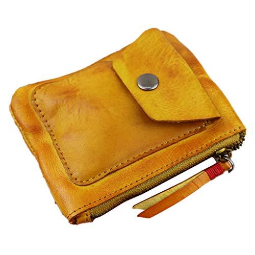 niumanery Genuine Leather Coin Purse Vintage Mini Zipper Wallets Case Storage Bag Card Holder Pocket for Men Women Brown