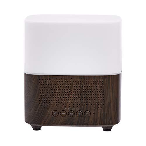 Amazon Basics Difusor de aceites esenciales ultrasónico para aromaterapia, 300ml, con altavoz Bluetooth y reloj despertador, base con acabado de madera oscura