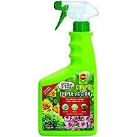 Compo Triple Acción, Protección contra Insectos, Hongos y ácaros, para Plantas de Interior y Exterior, Resultados en 24h, Envase pulverizador, 750 ml