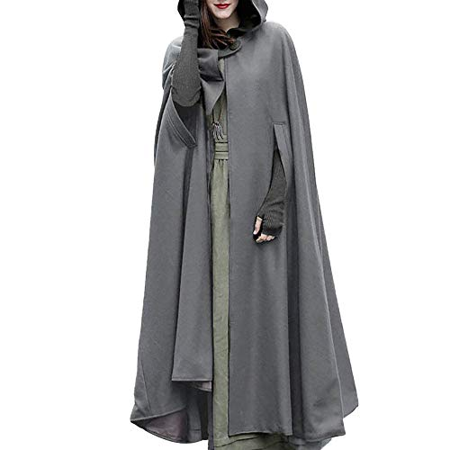 Vectry Damen Trenchcoat Weihnachten Spielraum Fashion Solid Kapuzen Umhang Poncho Frauen Warm Open Front Cardigan Jacke Mädchen Outdoors Windbreaker Wintermantel Parka Verein Party Mantel Tunika