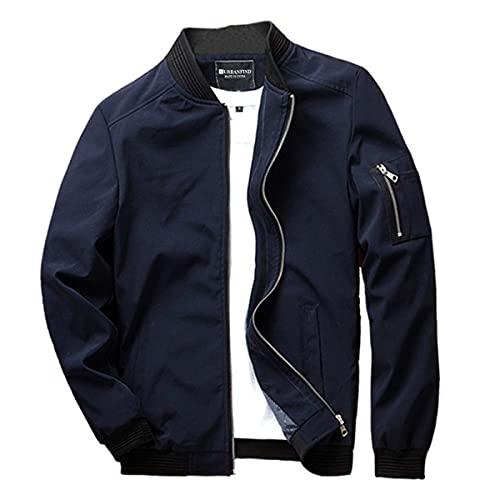 URBANFIND Men's Slim Fit Lightweight Sportswear Jacket Casual Bomber Jacket US S Blue