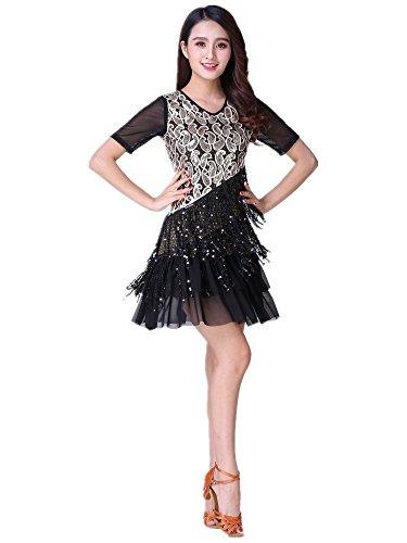 KINDOYO Mujeres Ropa de Baile Gasa Borla Manga Corta Vestido de Baile Latino Danza Moderna Rendimiento Competencia Práctica Disfraz, Negro/XL