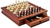 OWZSAN Juego de Mesa Conjunto de Ajedrez de Madera Magnético, Conjunto de Tableros de Ajedrez de Viaje con Cajón for Juguetes Educativos for Principiantes, Adultos (Tamaño: 41 Cm) Juego de ajedrez