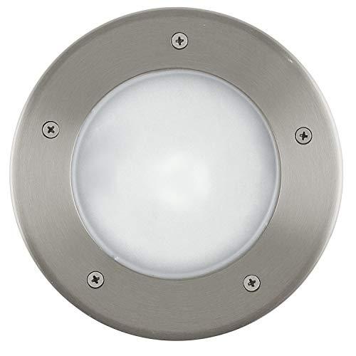 EGLO LED Bodeneinbauleuchte Riga 3, 1 flammige Einbauleuchte, Wegelampe aus Edelstahl und Kunststoff, Farbe: Silber, rund, Fassung: E27, IP67