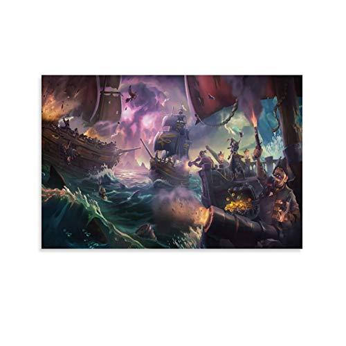NENBN Sea of Thieves Poster sur toile et décoration murale Motif mer de voleurs 20 x 30 cm