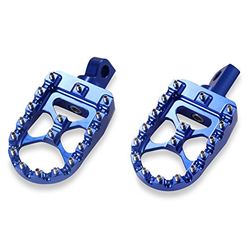 MENGGOO Universal Motorcycle Retro Pie Foot Pegs Footrest for Fit for Harley Cafe Racer Scooter Moto Fashion Pedal Pedal Negro Rojo Dorado Verde Verde (Color : Blue)