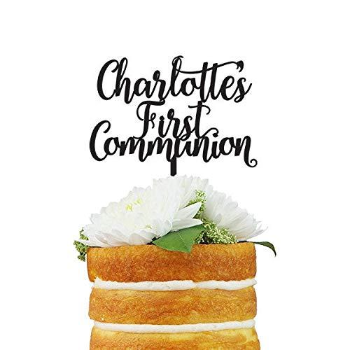 Aangepaste eerste communie naam Cake Topper Custom Zeggen Cake Topper met maximaal drie regels van tekst voor de eerste communie