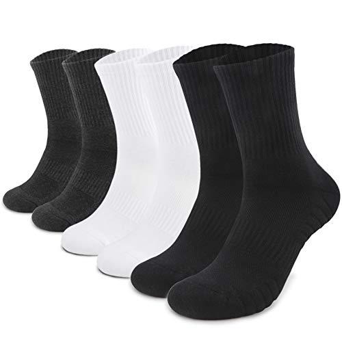 TUUHAW Sportsocken Herren Damen (6 Paar) Laufsocken Gepolstert Socken Schwarz Weiß Grau 43-46