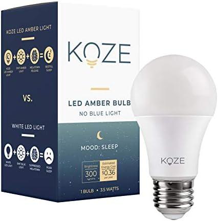 KOZE Sleep Amber Bulb Blue Light Blocking Sleep Light Bulb Optimize Melatonin Release Promote product image