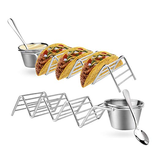 Taco Holder Stand Set of 2  Stainless Steel Taco Trays with 2 Salad Cups amp 2 SpoonsHolds 3 Tacos Each Keeping Shells Upright amp Neat