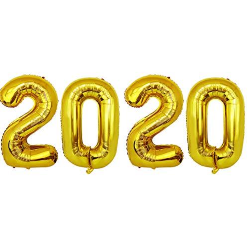 Amosfun 2020 Ballons Neujahr Folienballons Silvester Partydekoration liefert (golden) 16 Zoll