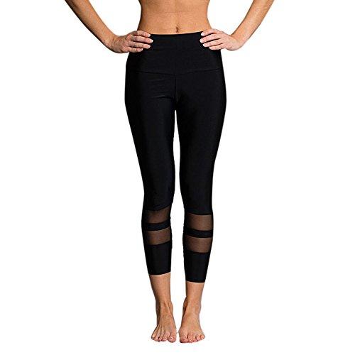 Förderung Damen Leggings, Mesh Yoga Hose mit Streifen 3/4 Lang Workout Yoga Pants Freizeithose High Waist Laufhose Jogginghose von LEEDY