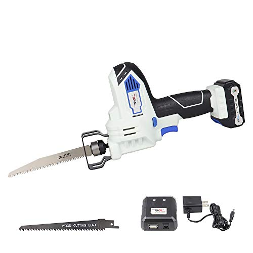 12V Cordless Reciprocating Saw compact Sawzall with 2x Wood Blades Includes 2.0Ah Battery, Smart Charger and USB Power Source
