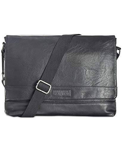 Kenneth Cole Reaction Strident-Class Vegan Leather 15' Laptop & Tablet Crossbody Messenger Bag For Work, School, Travel, Black, Laptop