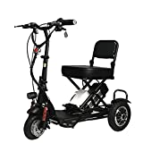 JHKGY Folding Electric Mobility Scooter,Portable Tricycle Recreational Power Scooter,3 Wheel Lightweight Portable Power Travel Scooters - for Travel, Adults, Elderly