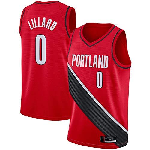 XGYD Lillard Camiseta De Baloncesto para Hombre, 2021#0 Lillard Jersey, Camiseta Sin Mangas para Fanáticos, Chaleco Deportivo Deportivo, Edición Ganada Red-XL