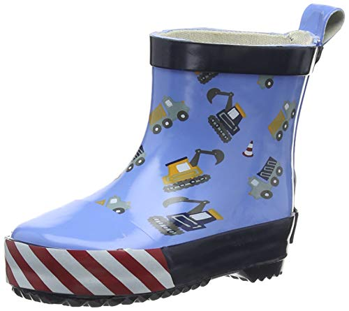Playshoes Kinder Halbschaft-Gummistiefel aus Naturkautschuk, trendige Unisex Regenstiefel mit Reflektoren, mit Bagger-Muster , Blau (bleu 17), 19 EU
