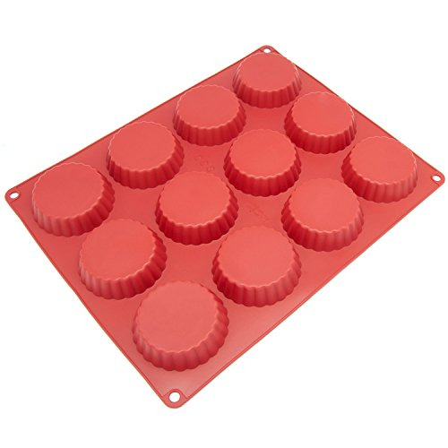 Silicone Chocolate Cookie Candy Molds [Medium Peanut Butter, 12 Cup] - Non Stick, BPA Free, Reusable 100% Silicon & Dishwasher Safe Silicon - Kitchen Rubber Tray For Fat Bombs and Soap Molds