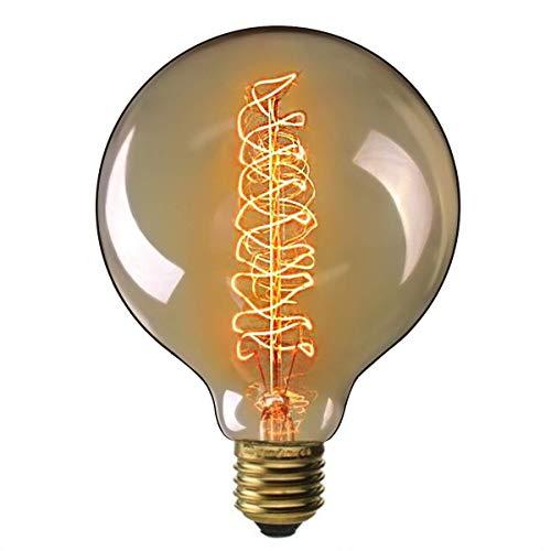 Wearego Lampadina Vintage Edison Globo G125 125mm 40W Lampada al tungsteno a filamento Spirale Retro antiquata decorativa Lampadina antica (E27 220V)