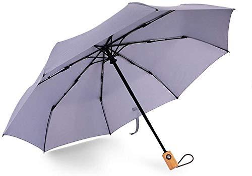 Suministros de lluvia Apertura umberllas paraguas plegable Ligera 8 Bone triple automática repelente al agua de lluvia Paraguas (Color: Gris, Tamaño: Un tamaño) Adecuado para salir en días de lluvia