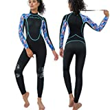 CtriLady Wetsuit Women Neoprene One Piece Full Diving Suits Long Sleeve Swimsuit with Back Zipper UV Protection Full Body Swimwear for Swimming, Diving, Surfing and Snorkeling(Black, XXX-Large)
