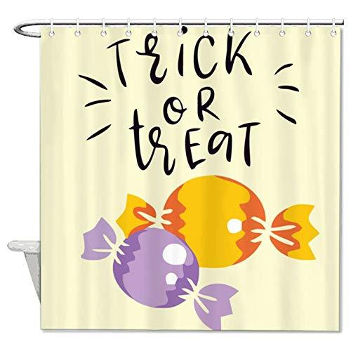 Teisyouhu Halloween-Duschvorhang, Süßigkeiten oder Süßigkeiten für Badezimmer, Stoff, wasserdicht, Polyester, mit 12 Haken, Badezimmer-Dekoration, 182,9 x 182,9 cm